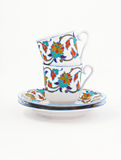 Винтажный комплект кофе при красочное изолированное украшение Стоковая Фотография RF