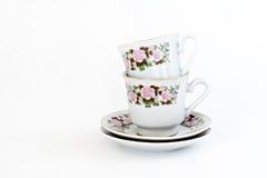 Винтажный комплект кофе при флористическое изолированное украшение Стоковая Фотография RF