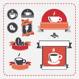 Винтажный комплект кофе иллюстрация вектора