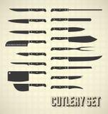 Винтажный комплект ножа столового прибора стиля иллюстрация вектора