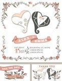 Винтажный комплект приглашения свадьбы сердца стилизованные иллюстрация вектора
