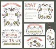 Винтажный комплект шаблона дизайна свадьбы вектор роз иллюстрации декора букетов флористический иллюстрация вектора