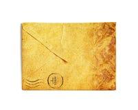 Винтажный конверт на белизне Стоковые Изображения