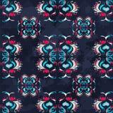 Винтажный конспект покрасил цветки на текстуре grunge картины голубой предпосылки безшовной Стоковое Фото