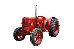 Винтажный красный трактор Стоковые Изображения