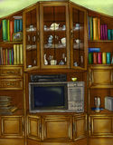 Винтажный кухонный шкаф и bookcase стоковое изображение rf