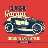 Винтажный классический дизайн гаража Стоковые Изображения RF
