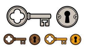 Винтажный ключ шаржа стиля с замком Стоковые Изображения