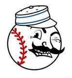 Винтажный логотип бейсбола любит красные цветы стоковые изображения rf