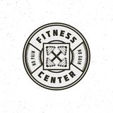 Винтажный логотип спортзала фитнеса ретро введенная в моду эмблема спорта также вектор иллюстрации притяжки corel иллюстрация вектора