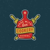 Винтажный логотип уроков кулинарии ретро введенная в моду кулинарная эмблема школы также вектор иллюстрации притяжки corel иллюстрация вектора