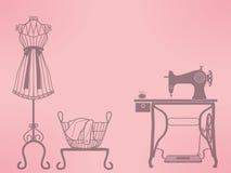 Винтажный манекен и швейная машина иллюстрация вектора