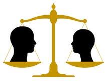 Винтажный масштаб с мужскими и женскими головами Стоковая Фотография