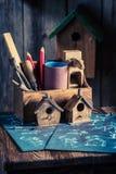 Винтажный малый дом и план строительства птицы Стоковые Изображения