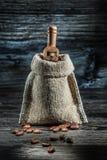 Винтажный мешок кофейных зерен и маленького ветроуловителя стоковое изображение rf