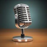 Винтажный микрофон на зеленой предпосылке ретро тип иллюстрация штока