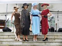 Винтажный модный парад, платья женщин Стоковые Фото