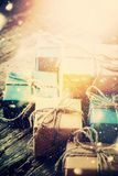 Винтажный Новый Год состава коробки рождества Стоковое Изображение RF