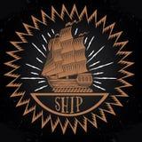 Винтажный логотип корабля Стоковое Изображение RF