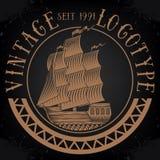 Винтажный логотип корабля Стоковое Изображение