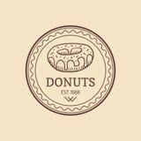 Винтажный логотип донута Ретро сладостный ярлык хлебопекарни Знак булочки Плакат печенья вектора Значок печенья битника Знак пуст Стоковые Фотографии RF
