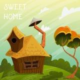 Винтажный дом помадки плаката Ландшафт лета с меньшими домом и деревом Стоковые Фото