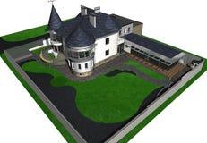 Винтажный дом стиля, 3D представляет Стоковое Фото