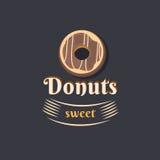 Винтажный донут логотипа Стоковые Изображения