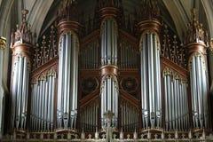 Винтажный орган трубы в соборе St Nicholas Fribourg, Швейцарии стоковое изображение rf