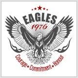 Винтажный орел ярлыка - ретро эмблема Стоковые Изображения RF