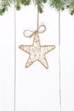 Винтажный орнамент рождества на деревянной предпосылке стоковая фотография rf