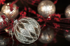 Винтажный орнамент рождества серебра Меркурия Стоковые Изображения