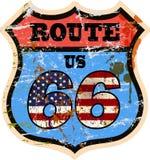 Винтажный дорожный знак трассы 66 Стоковые Изображения