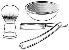 Винтажный парикмахер брея комплект Стоковое фото RF