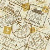 Винтажный пасспорт визы перемещения штемпелюет предпосылку вектора безшовную Стоковое Фото