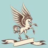 Винтажный Пегас с крылами и лентой иллюстрация штока