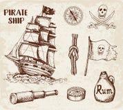 Винтажный пиратский корабль бесплатная иллюстрация