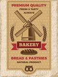 Винтажный плакат для магазина хлебопекарни Шаблон с местом для вашего текста бесплатная иллюстрация