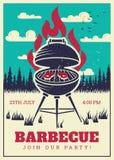 Винтажный плакат партии гриля bbq Очень вкусные зажаренные бургеры, карточка приглашения вектора барбекю семьи бесплатная иллюстрация