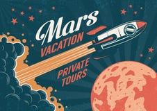 Винтажный плакат - ракета летает к планете Марсу иллюстрация штока