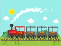Винтажный поезд в сельской местности Бесплатная Иллюстрация