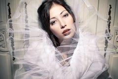 Винтажный портрет красивого брюнет Стоковое Фото