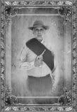 Винтажный портрет солдата гражданской войны Стоковые Фото