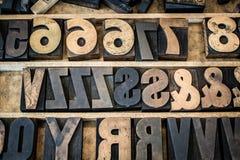 Винтажный поднос деревянного типа Letterpress Стоковое Изображение