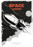 Винтажный плакат вектора космоса с челноком иллюстрация вектора
