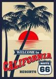 Винтажный плакат лета вектора Калифорнии, ретро печать футболки иллюстрация штока