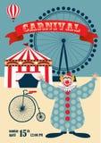Винтажный плакат масленицы или цирка Стоковое Изображение RF