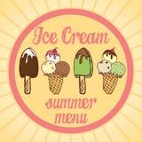 Винтажный плакат мороженого также вектор иллюстрации притяжки corel Комплект вкусного мороженого с меню лета текста Стоковые Фотографии RF