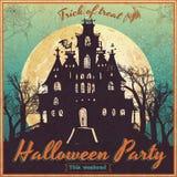 Винтажный плакат на хеллоуин Стоковые Фотографии RF