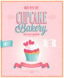 Винтажный плакат пирожного. Стоковая Фотография RF